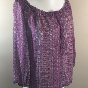 🌞AEO Boho Popover Purple Sheer 3/4 Sleeve Top Sm